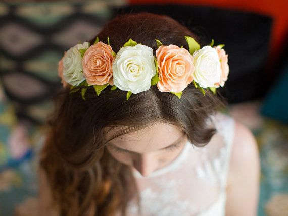 Floral hair crown Bridal halo headband Bohemian headpiece