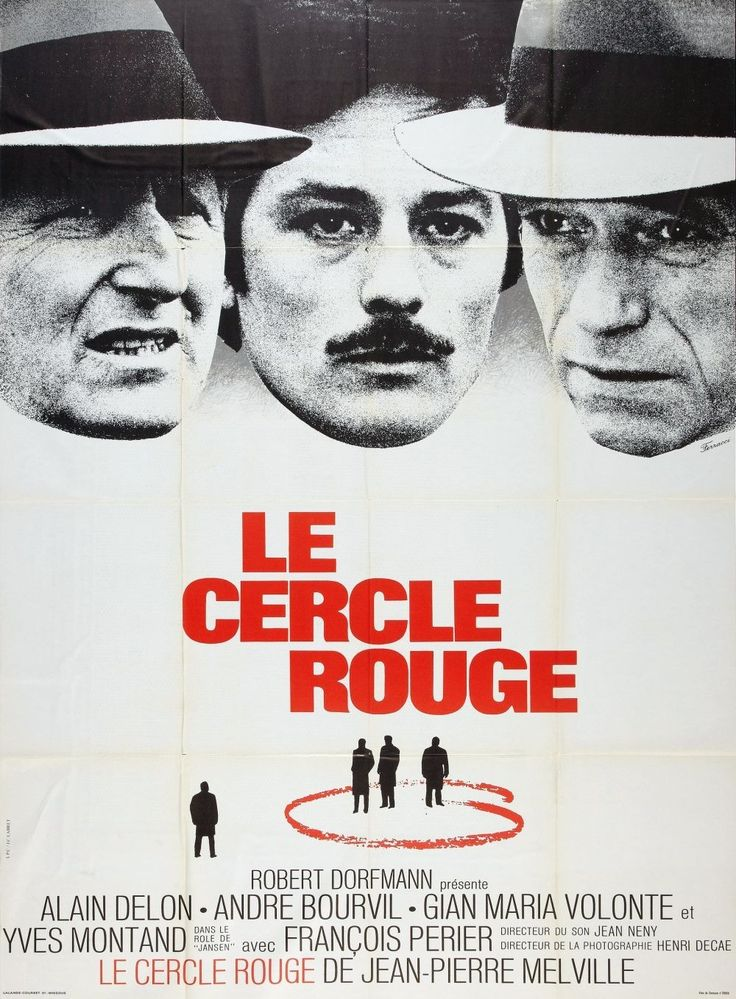 Le Cercle Rouge (1970) - Written & Directed by Jean-Pierre Melville; Starring Alain Delon as Corey; Bourvil as Le Commissaire Mattei; and Gian Maria Volonté as Vogel #GangsterMovie #GangsterFlick