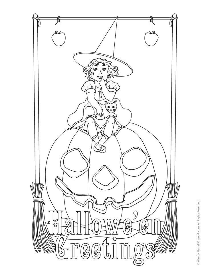 Witch on a Jack o' Lantern Hallowe'en Greetings Witch