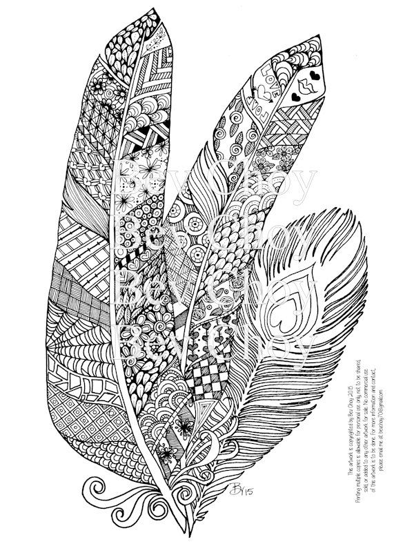 feather coloring pages - adult coloring page three feathers by bevchoyart on etsy