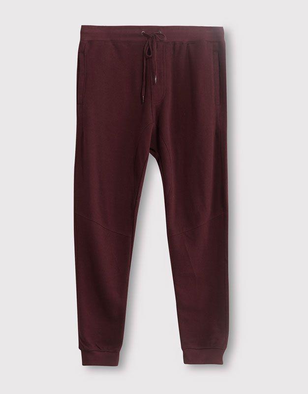 Pull&Bear - homme - pantalons - pantalon jogging taille contrastante - burgundy - 05684508-V2016