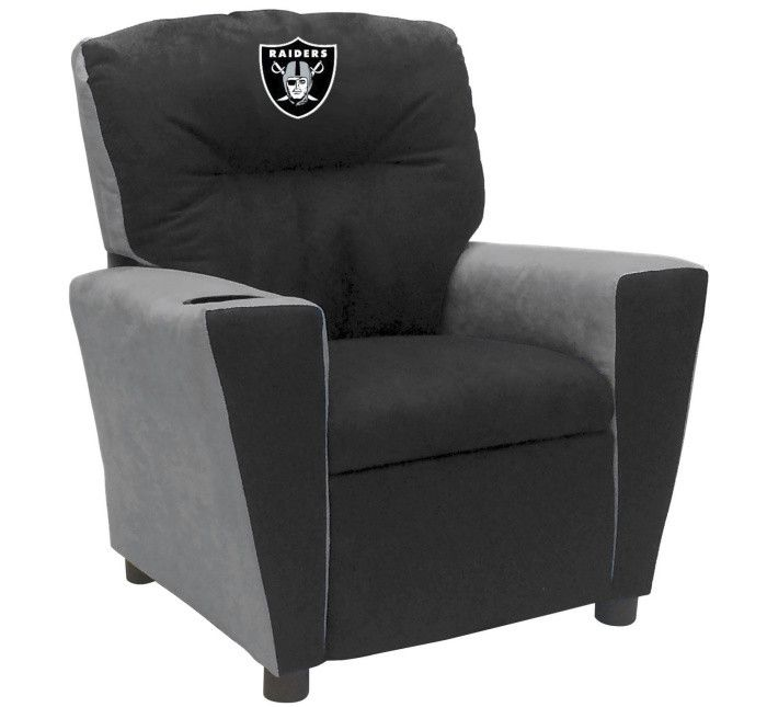 Oakland Raiders NFL Kids Fan Favorite Microfiber Recliner - Visit SportsFansPlus.com for more details!