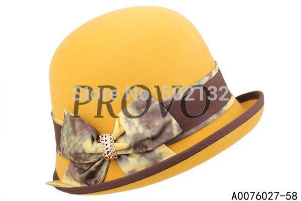 Goedkope , koop rechtstreeks van Chinese leveranciers: 2014 klassieke gemiddelde grootte geel 100 % wolvilt cloche hoeden voor dames1. fashion design2. gedetailleerd beeld