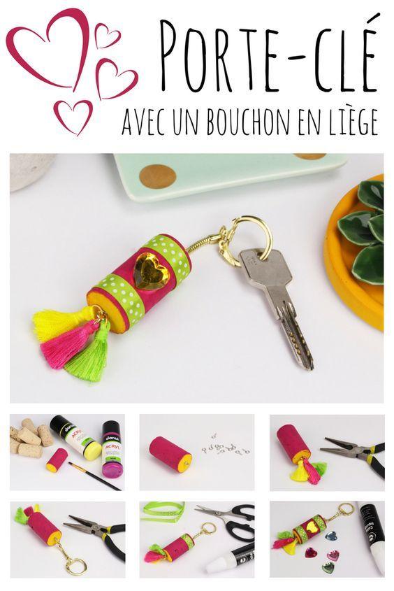 Bricolage fête des mères facile   fabriquez un porte-clé avec un bouchon en  liège ! f02b070c48e