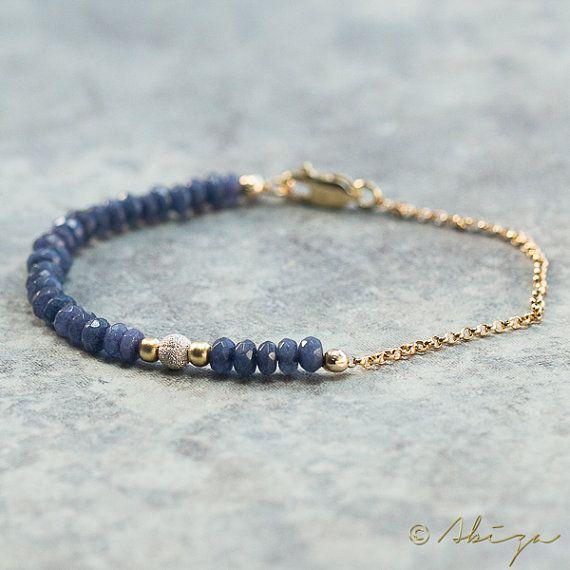 Bleu Jade Bracelet or de gerbage mousseux Pierre par AbizaJewelry