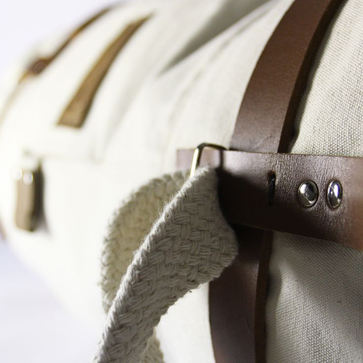 CULT OF ONE scout duffel bag, adjust able handle detail leather and cotton roping detail