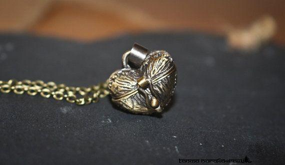 Antique Bronze Brass Long Heart locket Necklace pendant traditional vintage jewellery