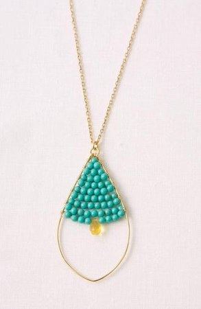 turquoise + yellow tear drop necklace