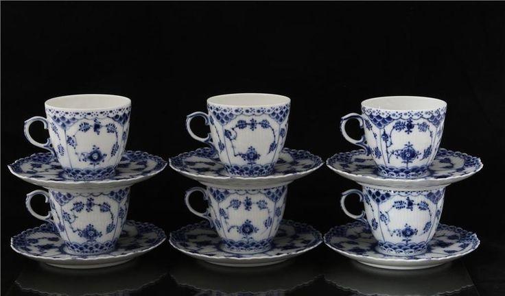 Denmark Royal Copenhagen Danish 6 tea pair cup saucer plate Musselmalet 12 pcs #RoyalCopenhagen