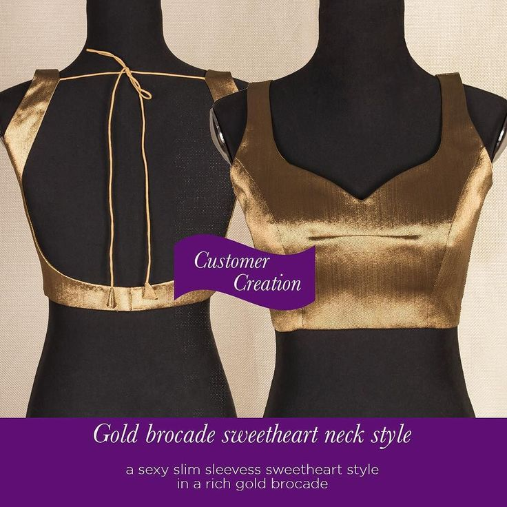 Our customer creations truly delight us! Check out this slick gold brocade number cutomised to the Tee.  Go ahead and give our 'STYLE CREATOR' a whirl - combine in ways you can only imagine :) Get inspired and create you own at http://ift.tt/1SDPHgc  #customercreation #houseofblousedotcom #blouse #sweetheart #slim #sleeveless #gold #brocade #yourblouseyourway