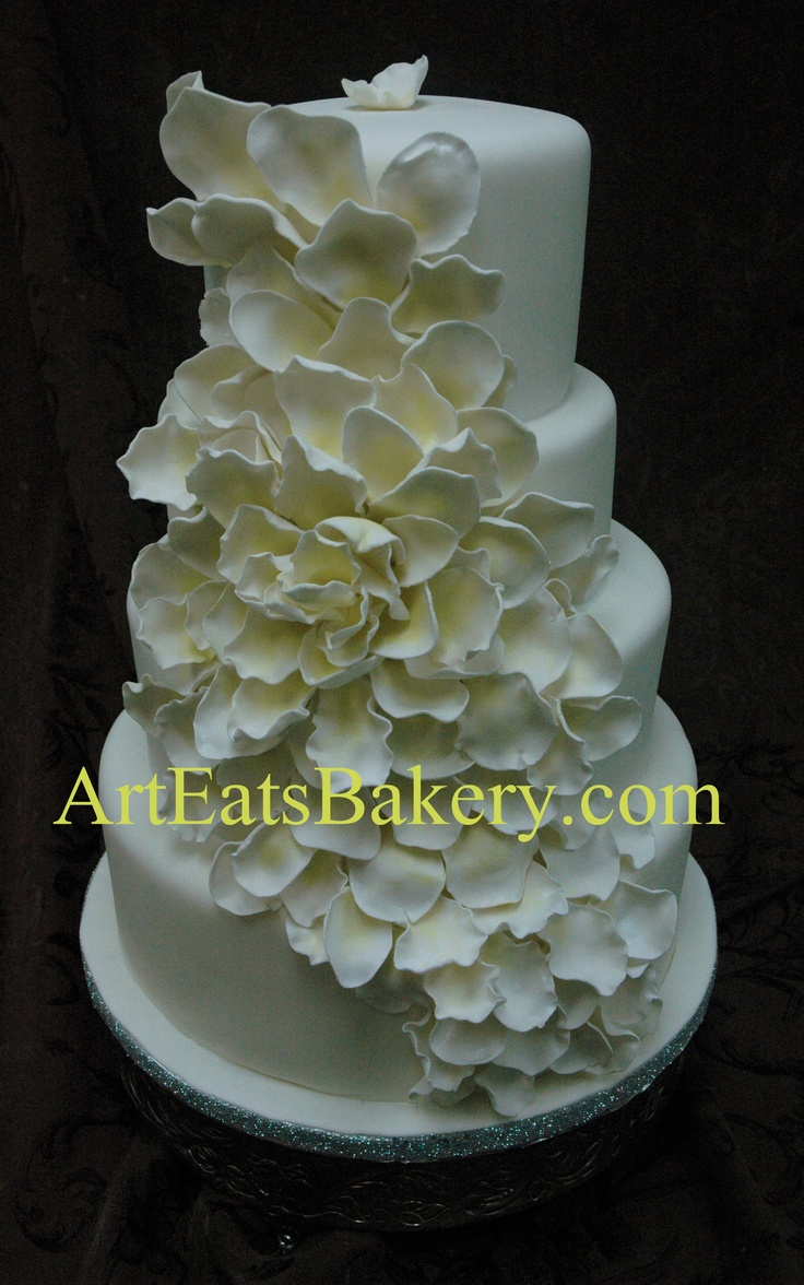 45 best fondant and modeling chocolate fabulousness images on four tier white fondant round unique modern wedding cake design idea with white and yellow large dramatic sugar flower design from art eats bakery dhlflorist Image collections