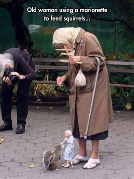 2. Esta ancianita le da de comer a una ardilla con su marioneta.