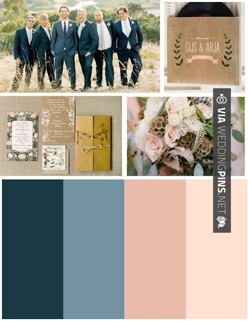 Wedding Colour Schemes 2017 – Jason wants to wear a blue suit so these colors are perfect. Blue and blush :)