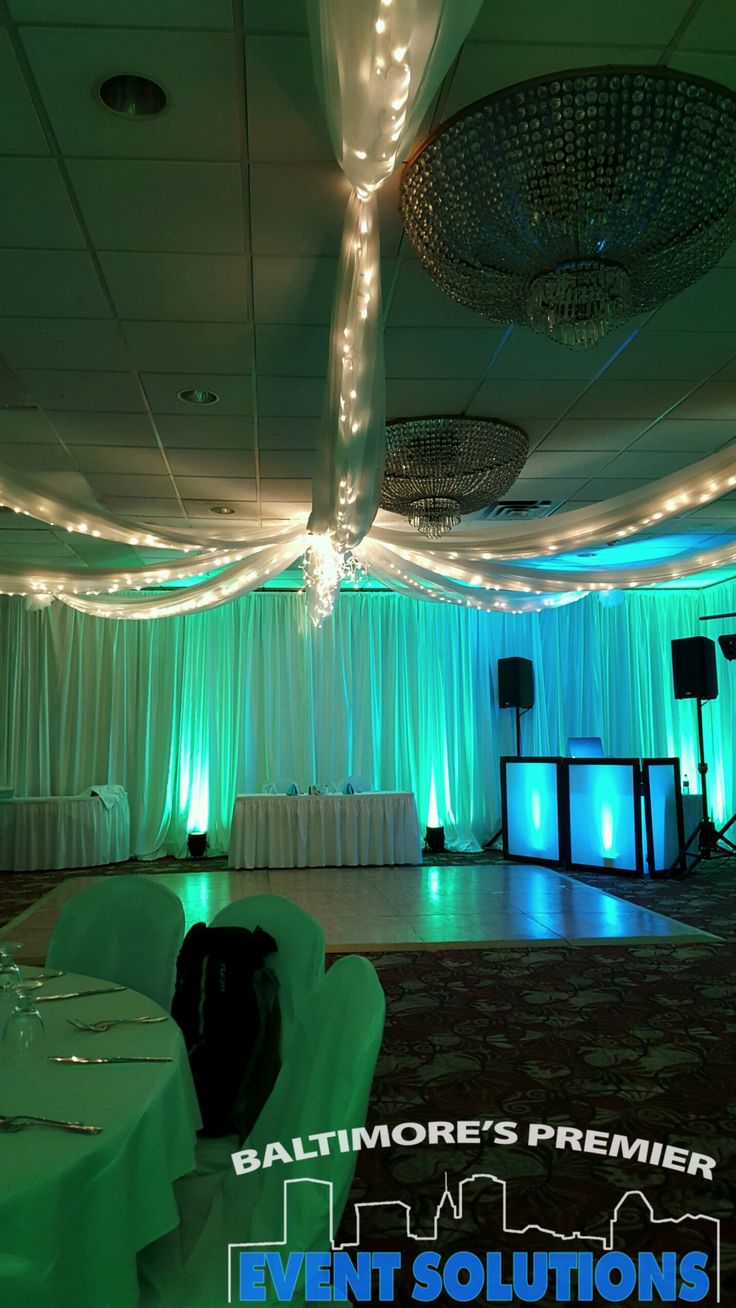 Columns ivory fabric uplighting wedding ceremony downtown double tree - Lighted Ceiling Drape Full Room Of Pipe And Drape Uplights And Dj Setup Dj Setuppipe And Drapewedding Djwedding Receptionpipesreceptionsceilings