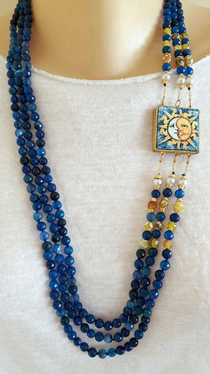 Collana mattonella ceramica Caltagirone, collana 3 fili agata blu in Orologi e gioielli, Bigiotteria, Collane e pendagli | eBay