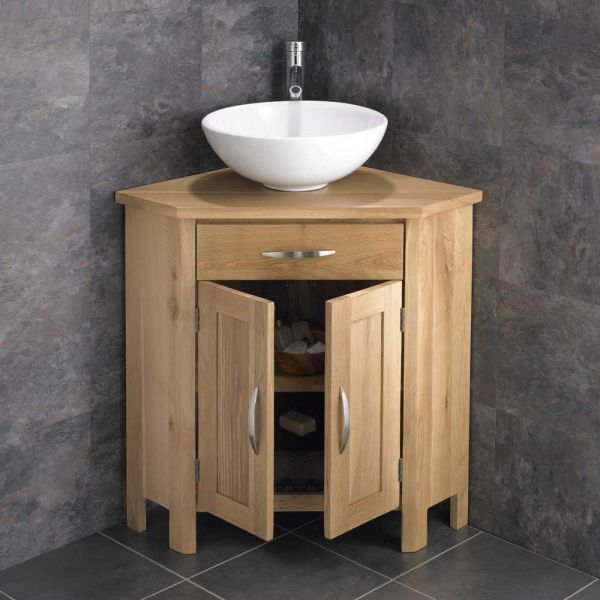 Oak Corner Freestanding Bathroom Vanity Round 400mm Basin Set Ohiol Bathroomvanitybasins Corner Bathroom Vanity Bathroom Vanity Oak Vanity Unit