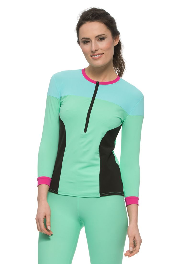 UCfit Mint Green Sport Top  Made from UPF 50+ swimsuit material.