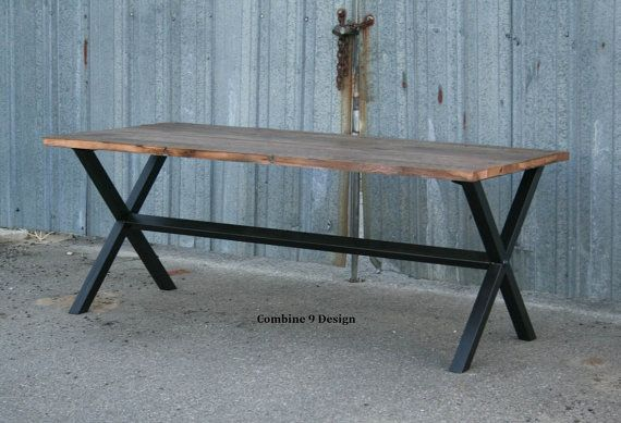 Vintage Industrial Dining Table. Minimalist, Modern, Urban. Reclaimed Wood and Steel. Custom. Made to order.  Bench available separately on Etsy, $1,075.00