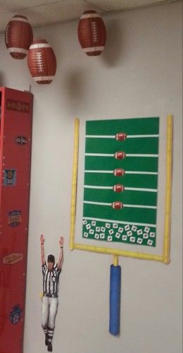 In our sports themed classroom, we encourage reading all year long using footballs that move up the football field and into the end zone!