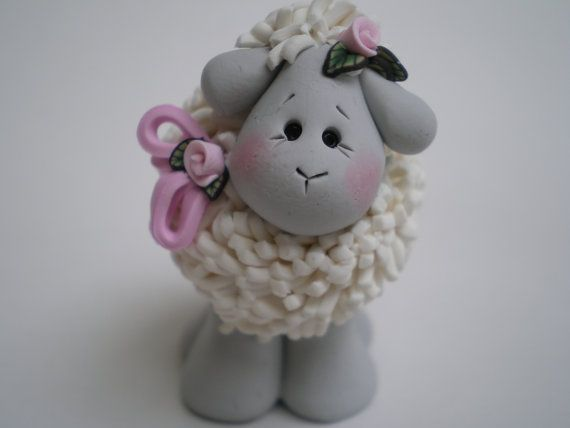 Handsculpted Polymer Clay Lamb Sheep by Helen's Clay Art