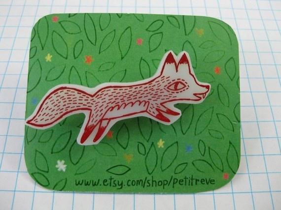 Red Foxy Brooch