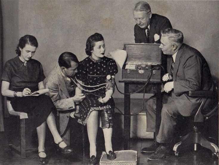 William Moulton Marston, far right, inventor of the first lie detector test and creator of the comic 'Wonder Woman'.