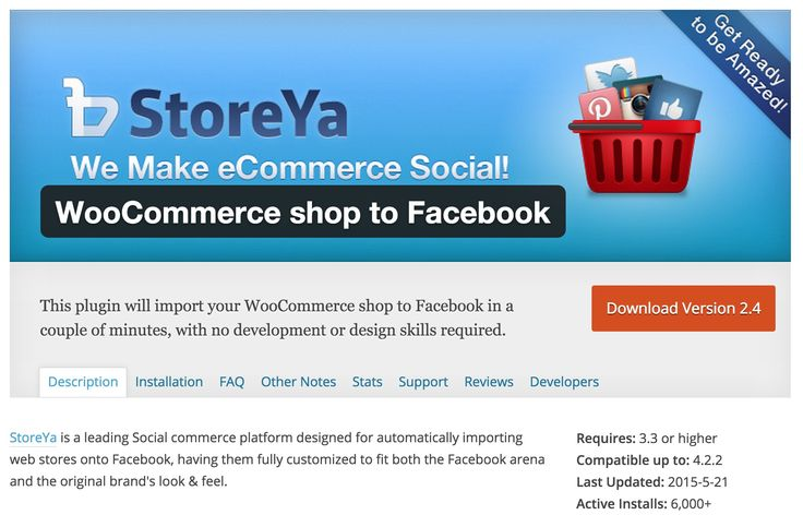WooCommerce shop to Facebook This plugin will import your WooCommerce shop to Facebook in a couple of minutes, with no development or design skills required.