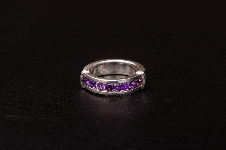 CRESSIDA amethyst stacking ring.