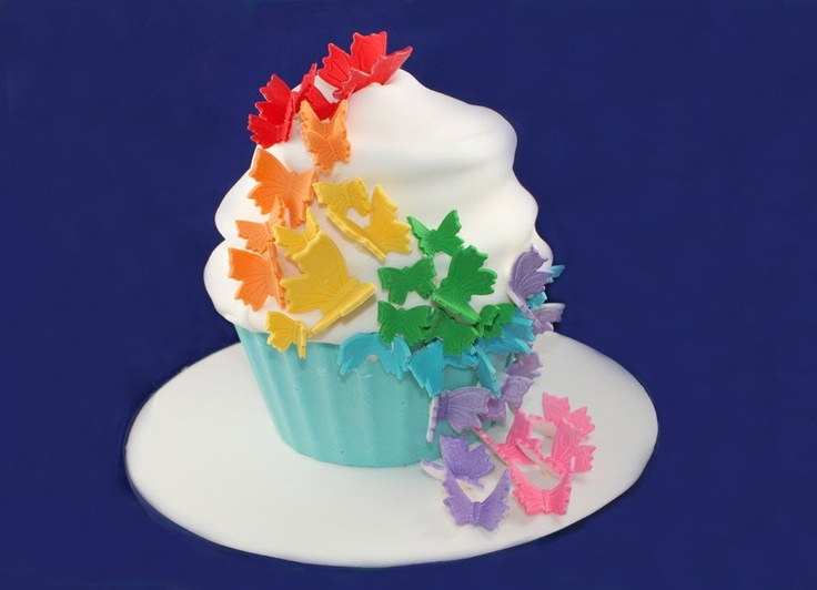 Giant Rainbow Butterfly Cupcake - How to Decorate your Rainbow Cake - A Cupcake Addiction Tutorial
