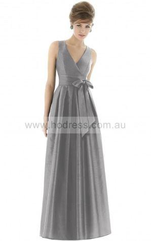 Polyster V-neck Natural Princess Floor-length Bridesmaid Dresses 0800110--Hodress