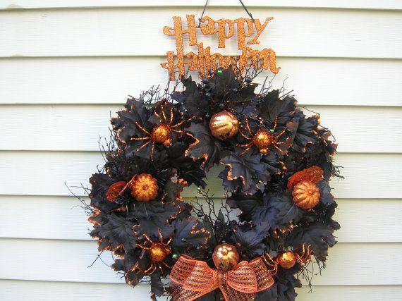 Halloween krans met spinnen en Jack o ' door MonasTreasureChest