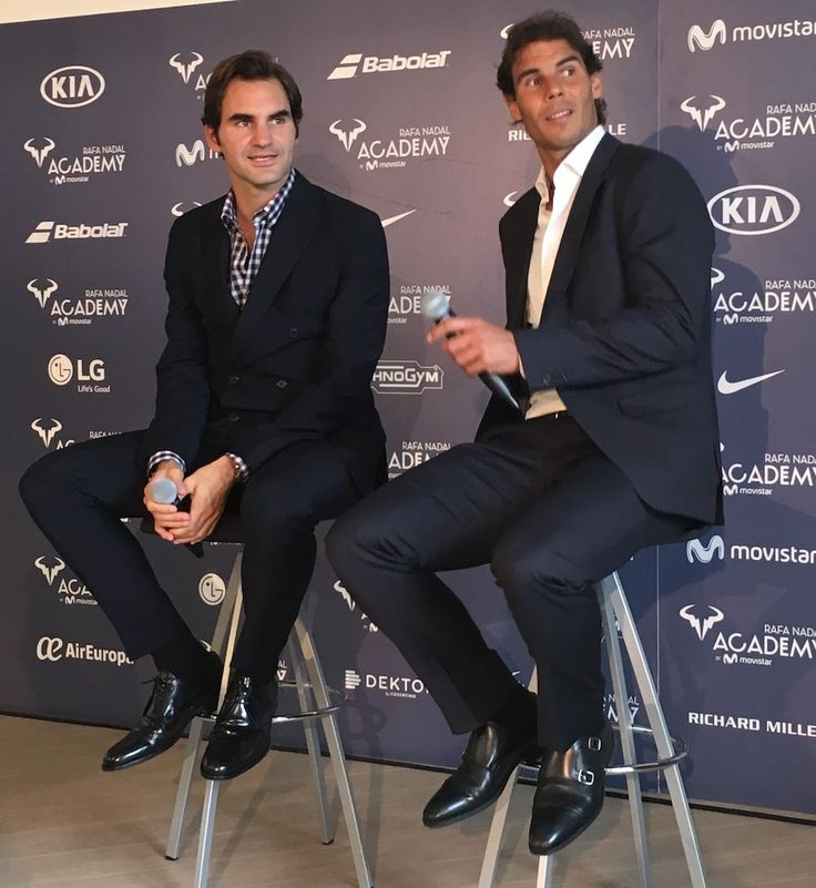 10 October 2016: Rafael Nadal and Roger Federer at the Opening Ceremony of Rafa Nadal Academy in Manacor.
