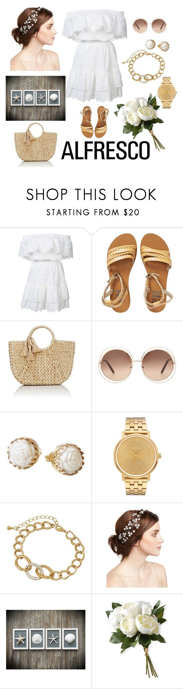 """breezy ❤"" by gayumihansi ❤ liked on Polyvore featuring LoveShackFancy, Billabong, Buji Baja, Chloé, Poporcelain, Nixon, Jennifer Behr and National Tree Company"