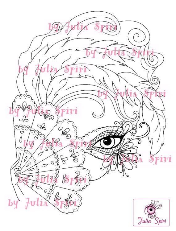Digital Stamps Digi stamp Coloring pages Mask Girl by JuliaSpiri