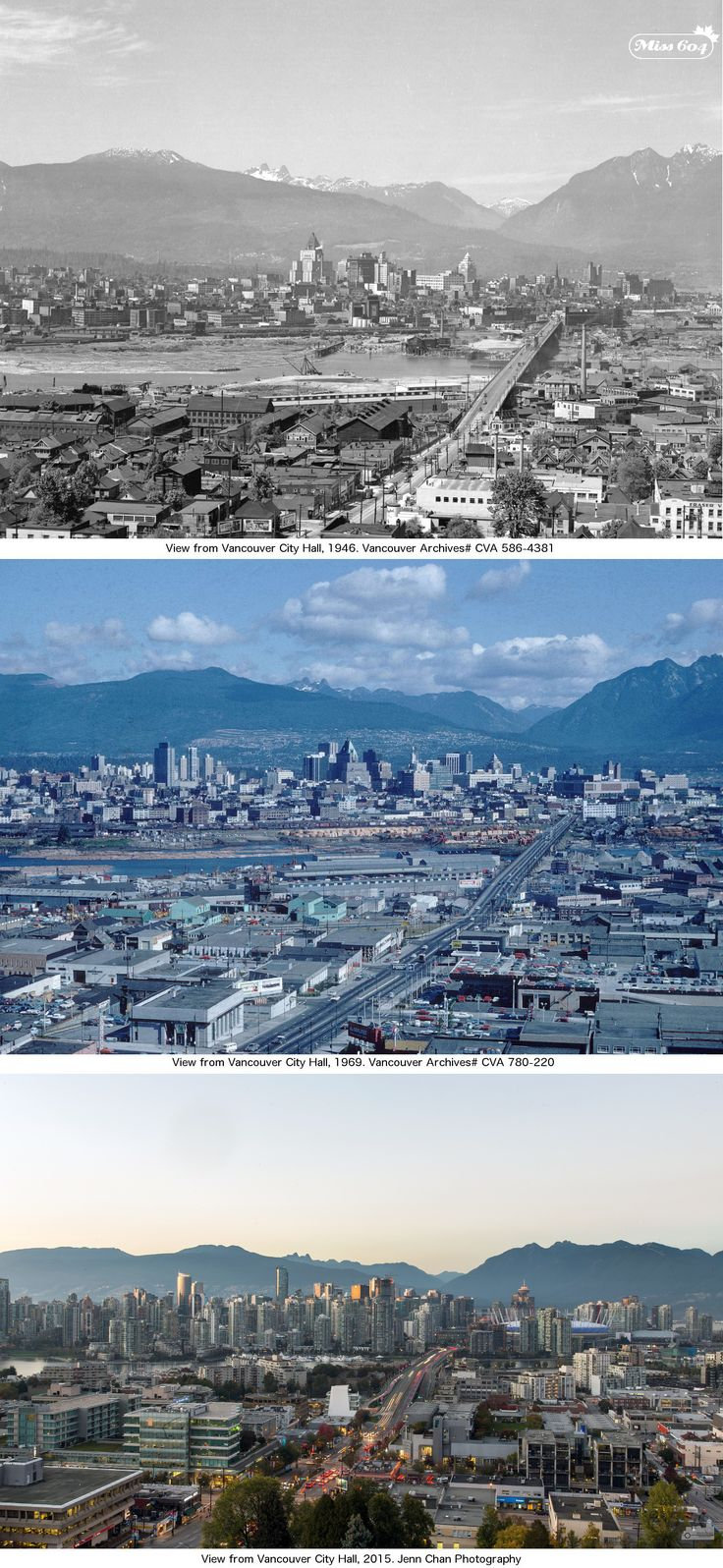 """This week's """"Then and Now"""" collage includes photos that have all been taken from City Hall, in the 1940s, 1960s, and 2015."""