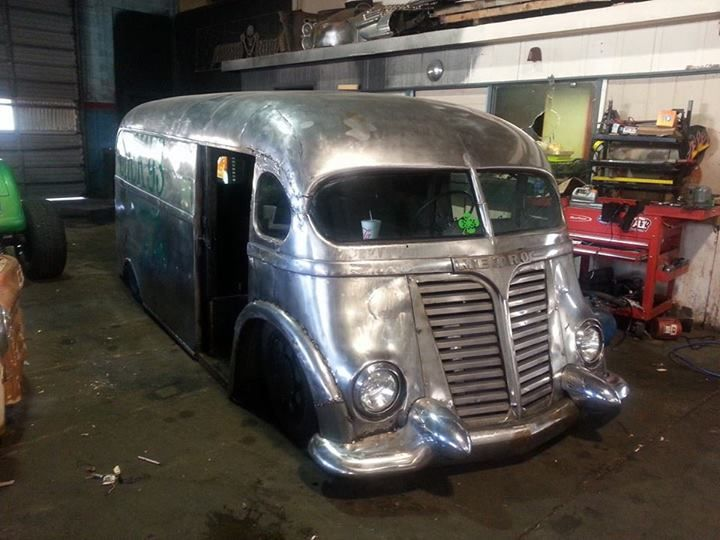 The International Harvester Metro Van by Morbid Rodz. The body was chopped 12 inches, sectioned, and channeled over a late model GM chassis.See the build pix here.