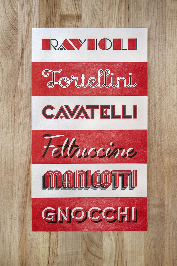 Pasta typography poster naomie ross grafica vintage lettering