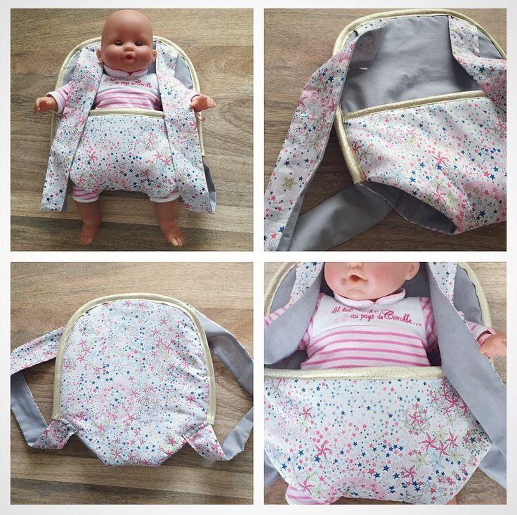 Porte bébé poupée en tissu liberty adelajda rose et coton gris avec biais doré