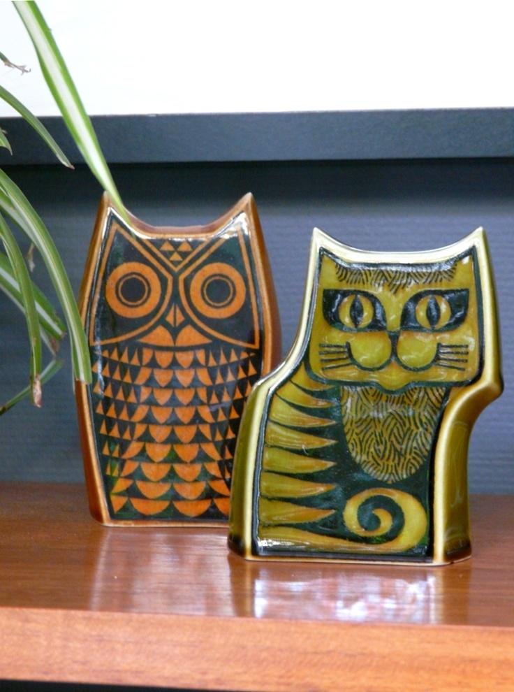 Super cute vintage Hornsea ceramic Owl & Cat critters.