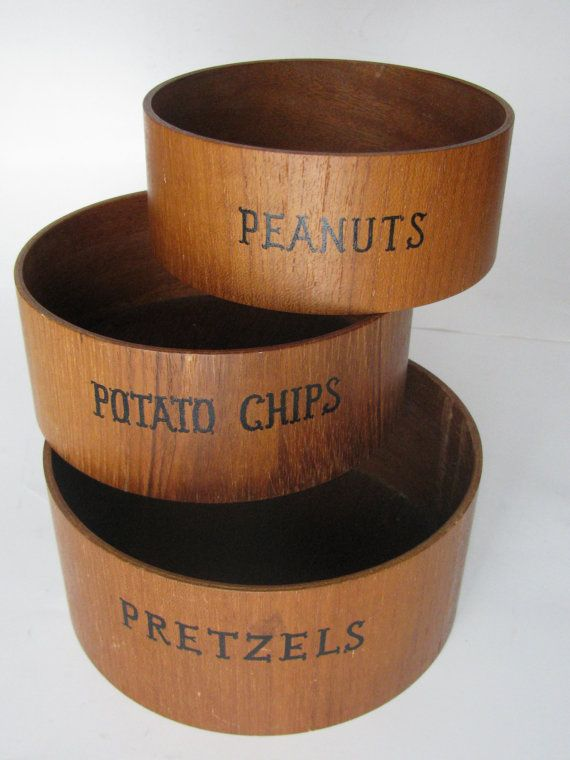 Mid Century Nesting Wood Snack Bowls for Pretzels by KitchieKu, $17.00