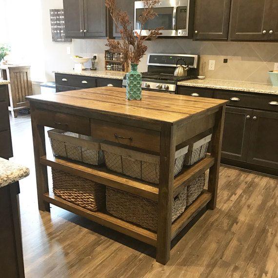 Hardwood Kitchen island/Restoration Hardware inspired ...