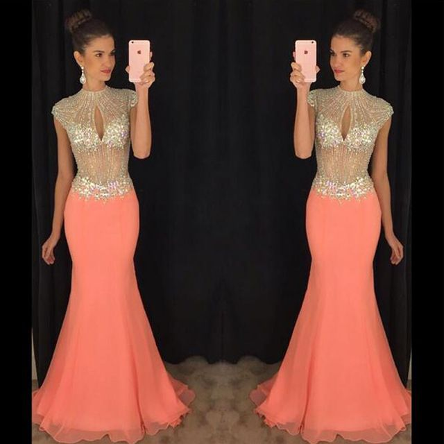 Sexy See Through Top Mermaid Long Party Dresses