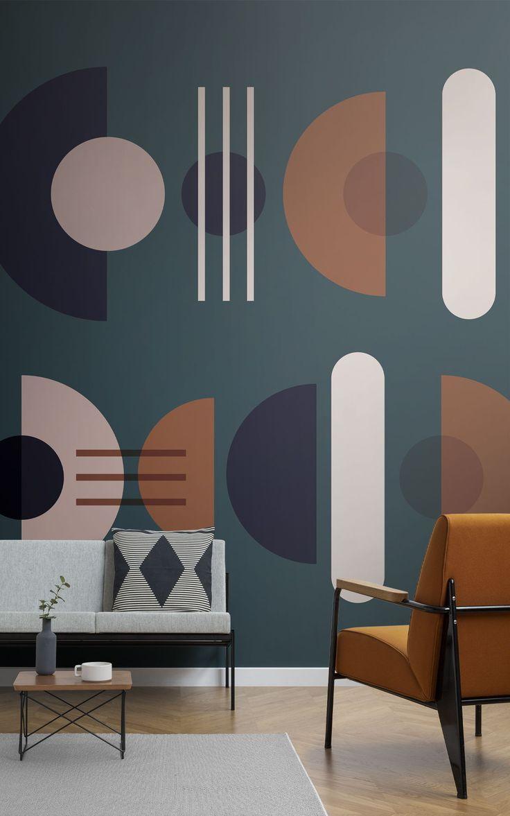 Green Mid Century Modern Wallpaper | Geometric Design ...