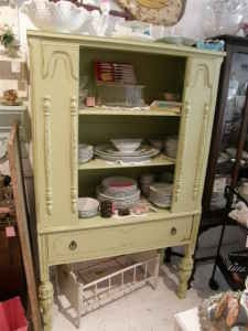 Image detail for -Antique China Cabinet Vintage Green Shabby Chic Distressed - $395 ...