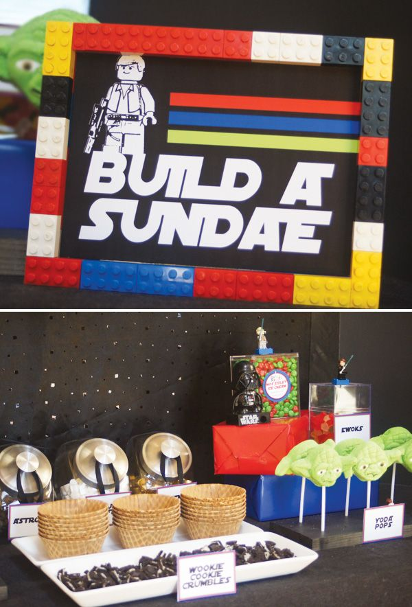 """Lego Star Wars Party // Hostess with the Mostess  - They did a """"build a sundae"""" table at this party... very cool"""