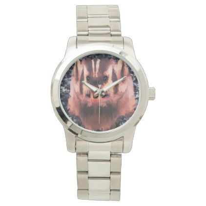 Angry Badger Picture Made With Triangles Watch - accessories accessory gift idea stylish unique custom