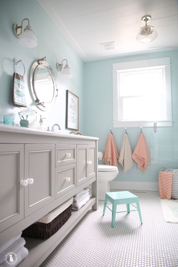 Blue cottage bathrooms - How To Shiplap Your Ceilings The Handmade Home Shiplap Bathroomaqua Bathroomcoastal Bathroomscottage