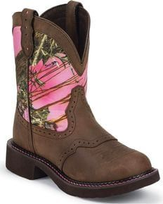 Justin Gypsy Pink Realtree Camo Cowgirl Boots - Round Toe, Aged Bark