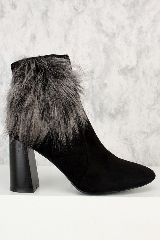 Black Faux Fur Accent Ankle Boots Chunky Heel Suede Booties