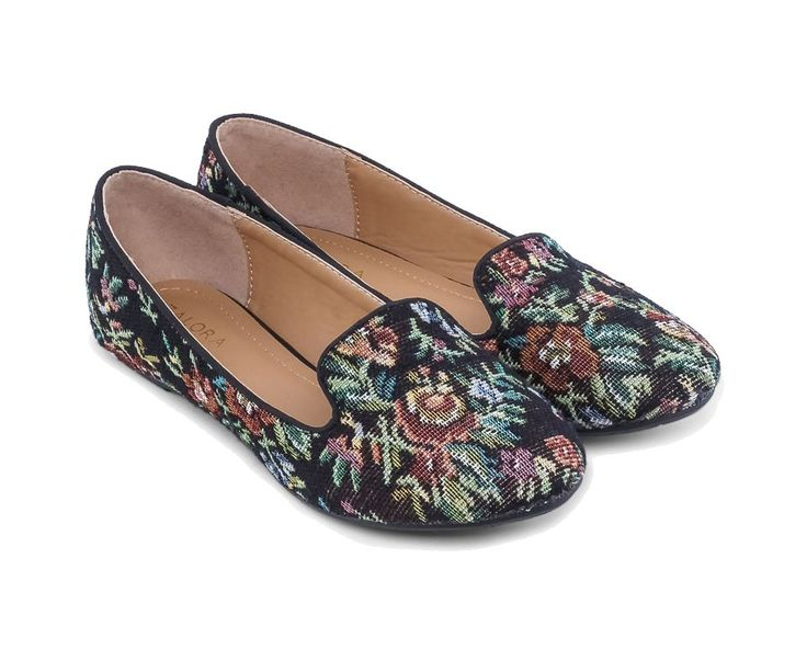 Floral Cross Stitch Slip On Ballerina Loafers by Zalora. Loafers classic with a flower pattern. Simply vintage. Classic loafers with a classic pattern, this black loafers can go with any kind of style, perfect for casual wear. http://www.zocko.com/z/JGoNS